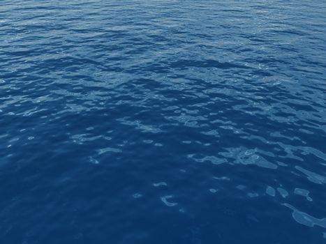 blue water surface with waves - 3d illustration