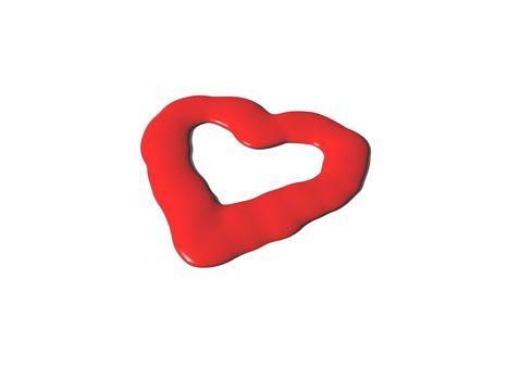 liquid red heart symbol on white background - 3d illustration