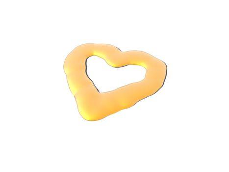 liquid golden heart on white background - 3d illustration
