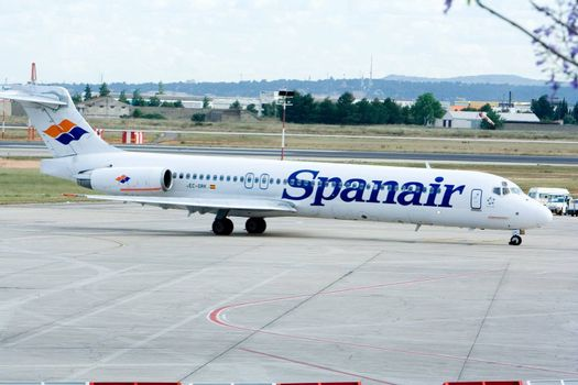 Spanair flight arriving at the Valencia airport.