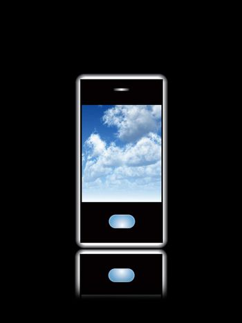 Mobile Phone With Cloud Screensaver