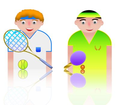 people icon sport tennis and ping-pong
