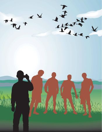 A group of young men in nature, vector illustration
