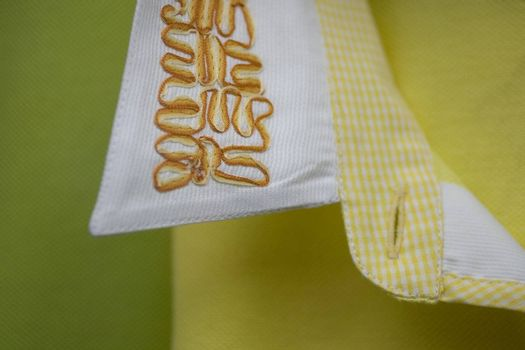 clothing. collar of a dress shirt embroided