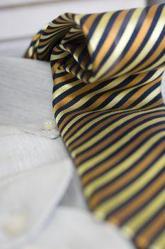 Tie on the dress shirt
