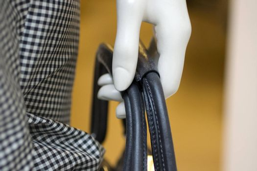 Hand of a mennequin keep a bag