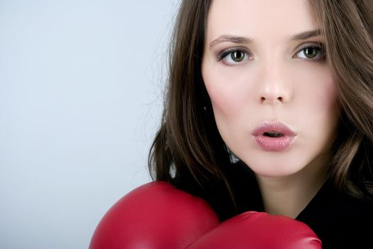 Pretty bussiness boxing woman