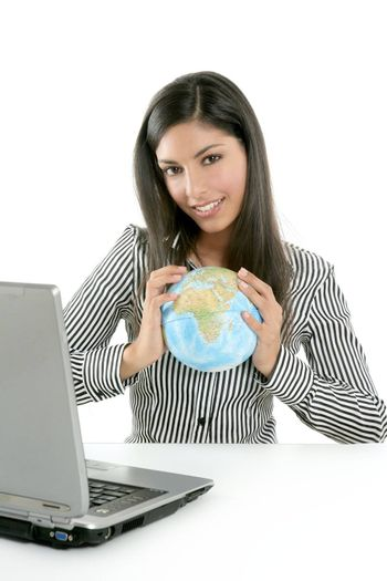Brunette businesswoman with global map in her hands, communication metaphor