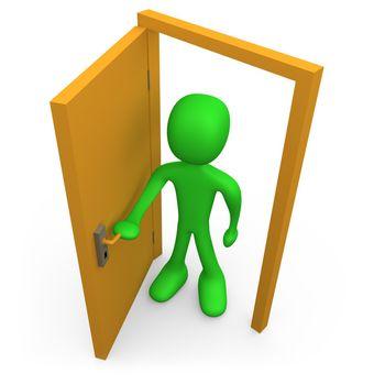 3d person in front of an open door.
