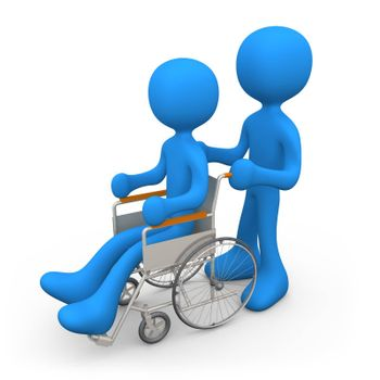 Person helping another person on a wheelchair.