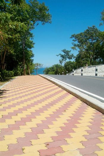 Road and colourful pavement