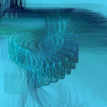blue rippling water, fractal render, illustration