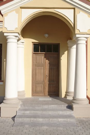 Architectural details to entrance of newly