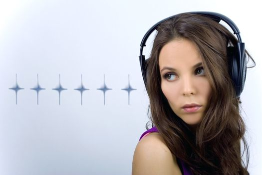 Young dj girl with stars