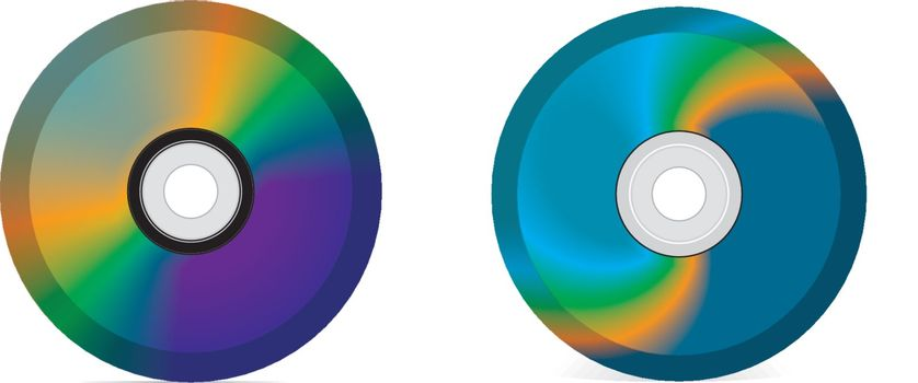 Vector realistic pictures of CD and DVD
