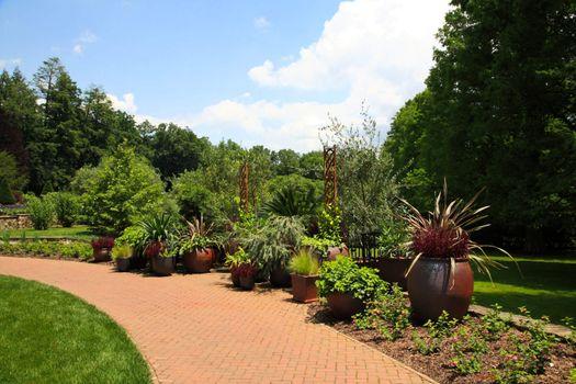 A landscape display in a botanical garden USA