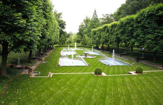 A Italian garden design in a botanical garden USA