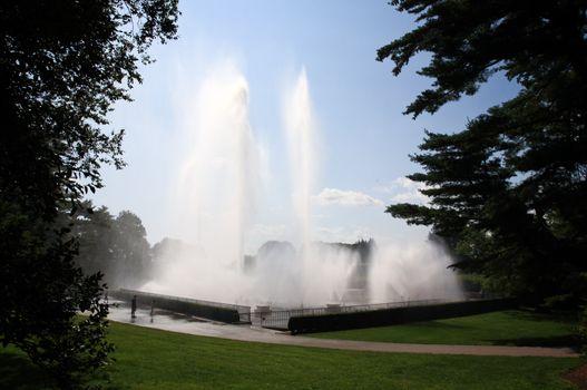 A fountain show in a botanical garden USA