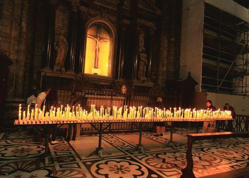 The interior of Duomo in central Milan Italy