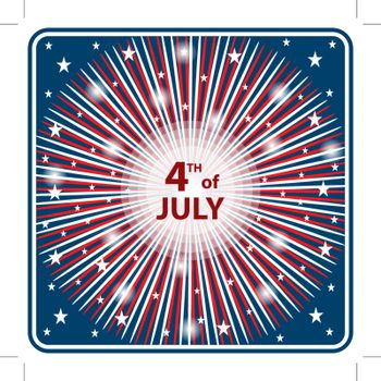 American flag colors in a starburst firework effect symbolizing 4th of July independence day celebrations.