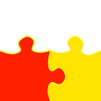 yellow and red 3d puzzle pieces intertwined symbolic for a close relationship