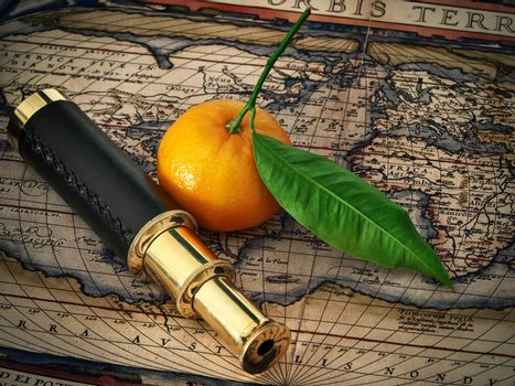 travelling theme: vintage telescope and mandarine at antique (17 century) map