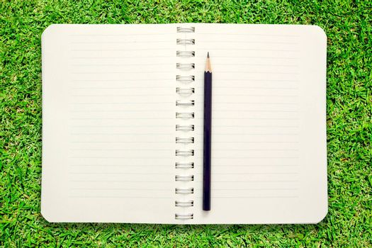 Blank notebook with pencil on green grass