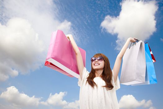 fashion girl with shopping bag