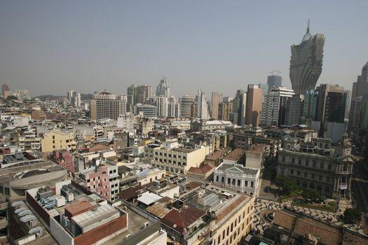 Macau skyline. You can see the famous new Hotel Lisboa, as well as the popular Senado Square.