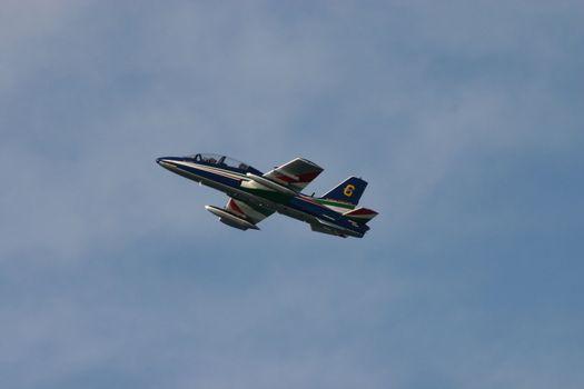 Italian acrobatic airplane training near Rome
