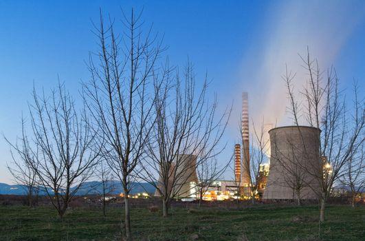 Dead nature near coal power plant