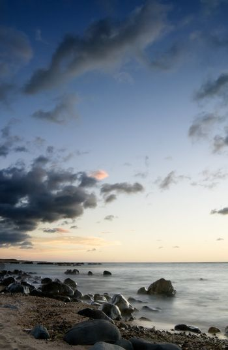 sunset of coral reef coastline