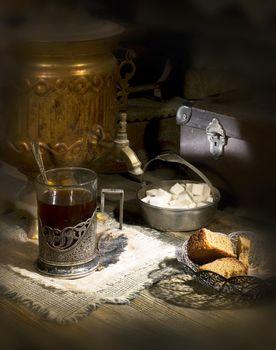 Old samovar on the table