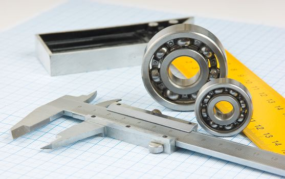 calipers, bearing and square