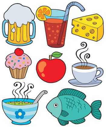 Food and drink collection 1 - vector illustration.