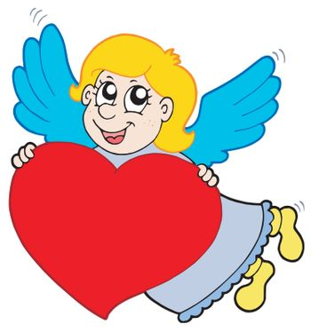 Smiling cupid with heart