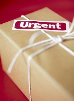 Wrapped Box w/ Urgent Sticker