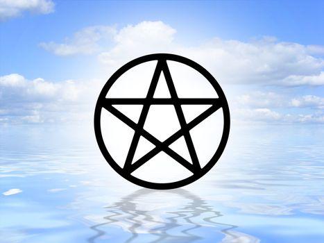 Pagan symbol on water