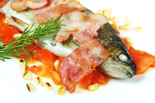 grilled fish with pine nuts