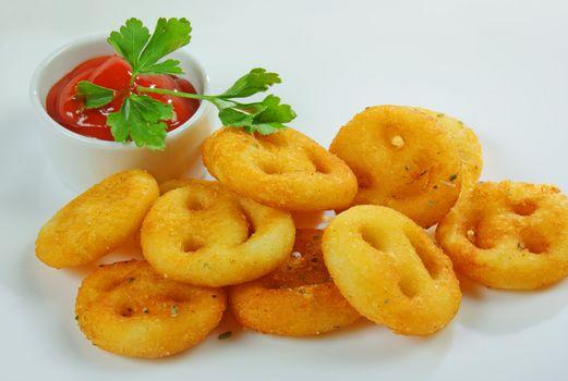 Garnish with potato chips