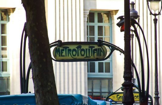 A typical sign of the Paris underground near Gare du Nord