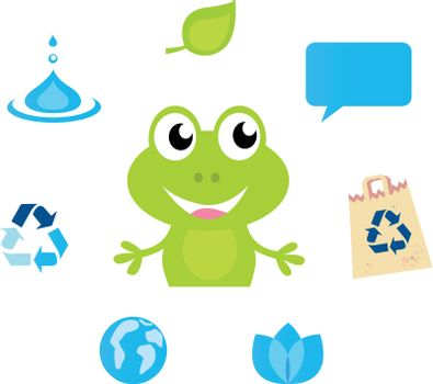 Cute green Frog character, Ecology, Nature and Water icons and symbols