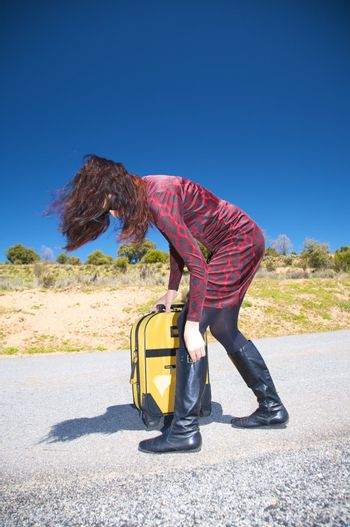 woman traveller with boots