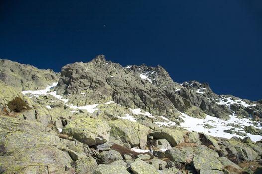 landscape of rock snow mountain