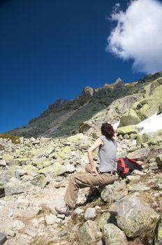 woman watching peak mountain
