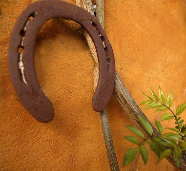 Horseshoe on the orange wall, good luck