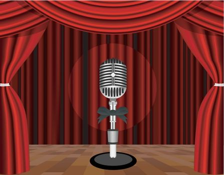 A microphone on a stage with a spotlight on it. Vector illustration