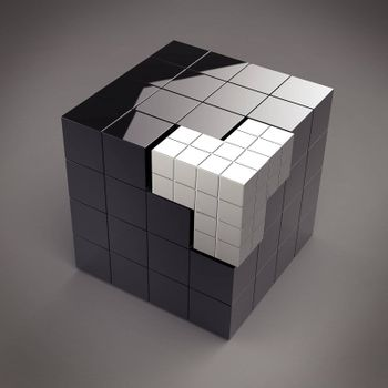 futuristic 3d black cube abstraction with puzzle element