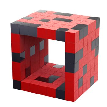 isolated Red futuristic 3d cube abstraction with hole inside