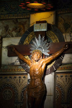 Jesus Christ crucifixion inside Sagrat Corazon church in Barcelona,Spain